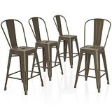 """VIPEK 24 Inches Counter Height Bar Stools Commercial Grade Patio Bar Chairs Metal 24"""" Height Barstool with Removable High Back Side Dining Chairs for Bistro Pub Cafe Kitchen, Set of 4, Gun Color"""