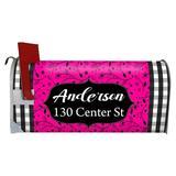 VWAQ Custom Plaid Name & Address Mailbox Cover in Pink, Size 1.0 H x 1.0 W x 1.0 D in   Wayfair PMBM7_HOTPINK