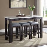 Red Barrel Studio® Argyris 4 - Piece Counter Height Dining Set Wood/Upholstered Chairs in Brown/Gray, Size 36.0 H x 20.0 W x 60.0 D in | Wayfair