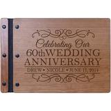 LifeSong Milestones Personalized Engraved 60th Wedding Anniversary Wood Guest Book Wood in Brown, Size 8.5 H x 11.0 W x 0.75 D in | Wayfair 94312