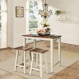 Gracie Oaks Michigantown 3 - Piece Counter Height Dining Set Wood in Brown/Green/White, Size 36.5 H x 36.0 W x 26.0 D in   Wayfair
