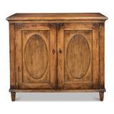 Sarreid Ltd Ribbon 2 Door Accent Cabinet Wood in Brown/Green, Size 36.0 H x 42.0 W x 19.0 D in | Wayfair 53413-2
