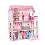 Robotime Wooden Dollhouse w/ Furniture, Pretend Play Doll House Toys For Kids, Gift For Girls Wood in Brown/Pink, Size 17.0 H x 10.7 W x 6.1 D in