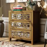 House of Hampton® Tietjen 3 Drawer Mirrored Accent Chest Wood in Yellow, Size 26.0 H x 12.2 W x 28.0 D in   Wayfair