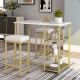 Mercer41 Lasone 3 - Piece Counter HeightWood/Metal/Upholstered Chairs in Brown/Gray/White, Size 36.2 H x 23.6 W x 41.3 D in | Wayfair
