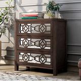 House of Hampton® Tietjen 3 Drawer Mirrored Accent Chest Wood in Brown, Size 26.0 H x 12.2 W x 28.0 D in   Wayfair 61CD269F098C4F95AD7BC4B7C80E77D6