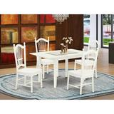 Canora Grey Montezuma Butterfly Leaf Rubberwood Solid Wood Dining Set Wood in Brown/White, Size 29.0 H in | Wayfair