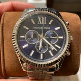 Michael Kors Accessories   Michael Kors Oversized Silver Watch   Color: Blue/Silver   Size: Os