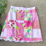 Lilly Pulitzer Skirts | Lilly Pulitzer Sonia Skirt In Fly By Sewn Patch | Color: Green/Pink | Size: 6