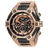 Invicta Men's Shaq Swiss Quartz Watch with Stainless Steel, Cable Strap, Rose Gold, 33.5 (Model: 33682)