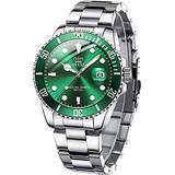 OLEVS Green Dial Watches for Men,Stainless Steel Waterproof Analog Quartz Men Watch with Date Luminous Pointer Luxury Fashion Big Face Wrist Watches,Relojes de Hombre