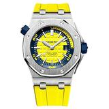 Audemars Piguet Royal Oak Offshore Diver 15710ST.OO.A051CA.01, 42mm in Steel Diver Boutique Edition on Yellow Rubber Strap with Yellow Dial