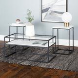 3-Piece Box Metal Table Set in White Faux Marble - Walker Edison GC40SWI3PWM
