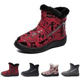 NUHEEL Womens Winter Snow Boots Slip on Fur Lined Warm Ankle Boots Waterproof Flat Anti-Slip Comfort Shoes Outdoor Walking Ankle Boots for Women Ladies Red 7.5