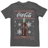 Men's Coca-Cola Classic Bottle Christmas Sweater Style Tee, Size: XL, Grey