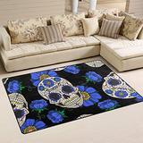 UMIRIKO Candy Skull Rug Blue Flowers Laundry Collection Area Rug Non-Slip Floor Rug Doormat for Bathroom Bedroom Decor 60 x 39 in 2022053