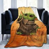 "XUSHEJA S-T-A-R War Cute Baby Yodas Mand-alorian 50""X40"" Ultra Soft Micro Flannel Blanket Anti-Pilling Stylish Travel Blanket Warm Bed Blanket Lightweight Fleece Blanket Bedding for Sofa,Bed,Couch"