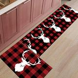 InvisibleWings Kitchen Rugs 2 Piece Christmas Reindeer Black and Red Plaid Aniaml Print Washable Microfiber Kitchen Mats and Rugs Runner Floor Carpet with Non-Slip Backing Bath Rug Doormat for Porch