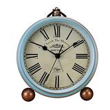 Table Clock Non-Ticking, Metal Vintage Alarm Clock Battery Operated Analog Silent Table Desk Clock Beside Clock with Quartz Movement Bedroom Living Room Kids (Blue -R)