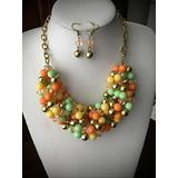 Multi Color Yellow Orange And Green Lucite Bead Gold Tone Statement Chunky Rhinestone Necklace for Women Earring