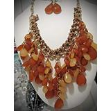 Multi Brown Faceted Lucite Drops Gold Tone Link Necklace Earring For Women Statement Chunky Crystal Fashion Jewelry Set