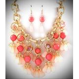 Multi Peach Lucite Bead Dangle Thick Gold Tone Link Bib Necklace Earring For Women Statement Chunky Crystal Fashion Jewelry
