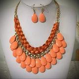 Orange Lucite Drops Braided Multi Thred Gold Tone Necklace Earring For Women Statement Chunky Crystal Fashion Jewelry Set