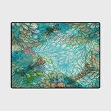Dragonfly Non Slip Rug pad Farmhouse Kitchen Rugs Fantasy Flowers Mixed in Various Tones Shabby Chic Feminine Beauty Print Carpet Chair mat Turquoise Amber 4 x 6 Ft