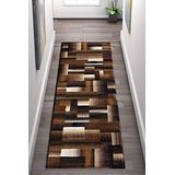 Champion Rugs Squares Modern Geometric Casual Hand Carved Area Rug Brown Easy to Clean Stain & Fade Resistant Abstract Boxes Contemporary Thick Soft Plush Bedroom Room Contemporary Dining Accent