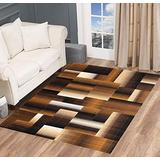 Champion Rug Squares Modern Geometric Casual Hand Carved Area Rug Brown Easy to Clean Stain & Fade Resistant Abstract Boxes Contemporary Thick Soft Plush Bedroom Living Room Contemporary Dining Accent