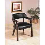 Red Barrel Studio® Bettejean Upholstered Arm Chair in Black/Dark CherryFaux Leather/Wood/Upholstered in Black/Brown   Wayfair