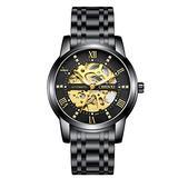 MASTOPMen's Automatic Mechanical Watch Waterproof Automatic Self-Winding Rome Number Diamond Dial Business Stainless Steel Band Dress Wrist Watch (Black)
