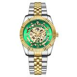 MASTOPOriginal Delicate Skeleton Mechanical Watches for Men Automatic Slef-Wind Wrist Watch Luxury Stainless Steel Gold Watch, Luminous Hands, 30M Waterproof (Silver Green)