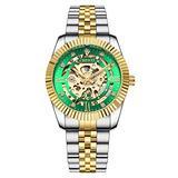 MASTOPOriginal Delicate Skeleton Mechanical Watches for Men Automatic Slef-Wind Wrist Watch Luxury Stainless Steel Gold Watch, Luminous Hands, 30M Waterproof (Silver Green)