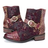 gracosy Ankle Boots for Women, Leather Ankle Bootie Vintage Fashion Short Boots Side Zipper Floral Pattern Comfort Shoes Ladies Winter Boots Red 6 M US