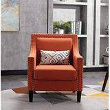 SSLine Accent Arm Chair,Modern Upholstered Linen Fabric Accent Chair Barrel Chair w/Solid Wood Legs,Club Chair with Nailheads,Wingback Sofa Backrest Lounge Chair Single Sofa for Living Room Home Club