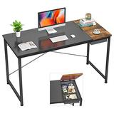Foxemart Computer Desk, 47 Inch Study Writing Desk for Home Office Workstation, Modern Simple Style Laptop Table with Storage Bag/Drawer, Black and Rustic Brown