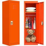 Kids Locker Cabinet Metal Kids Storage Locker with Lock, Orange Locking Kids Coat Locker with Shelves and Hanging Rod for Home, Bedroom, Kids Room, School, Classroom(Steel Frame, 2 Keys Included)