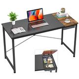 Foxemart Computer Desk, 39 Inch Study Writing Desk for Home Office Workstation, Modern Simple Style Laptop Table with Storage Bag/Drawer, Black and Rustic Brown