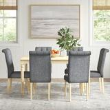 Sand & Stable™ Alia 7 - Piece Counter Height Dining SetWood/Upholstered Chairs in Brown, Size 29.6 H x 35.4 W x 59.0 D in | Wayfair