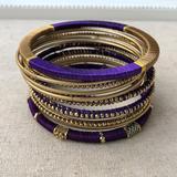 Anthropologie Jewelry   12pcs Indian Chura Gold Indigo Bangle Bracelet Set   Color: Blue/Gold   Size: Os