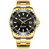 BUREI Men's Luxury Wrist Watches Casual Business Watches with Fixed Bezel Sapphire Glass Stainless Steel Band (Gold-Black)
