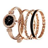 Clastyle Elegante Rose Gold Watch and Bracelet Set for Women Glitter Crystal Watch and Bangle Set Stainless Steel Girls Wrist Watch and 3 Bracelets Set