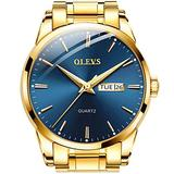 Gold Watches for Men Blue Watch Big Face Fashion Day Date Dress Watches Casual Analog Quartz Watches Luxury Stainless Steel Waterproof Wristwatches with Luminous Dial OLEVS Watches,relojes de Hombre