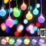 16 Color Changing Globe String Lights, 50 LED Cherry Ball String Lights Bulb USB Plug in Bulb Fairy Lights with Remote Control for Kids Girls Bedroom Christmas Decor- 32.8ft (RGB)