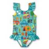Millie Loves Lily Girls' One Piece Swimsuits Camping - Teal Camping Ruffle-Accent One-Piece - Girls
