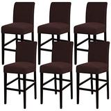 Turquoize Stretch Bar Stool Cover Counter Stool Pub Chair Slipcover for Dining Room Cafe Barstool Slipcover Removable Furniture Chair Seat Cover Jacquard Fabric with Elastic Bottom Set of 6, Brown