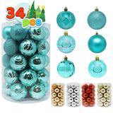 """Joiedomi 34 Pcs Christmas Ball Ornaments, Shatterproof Christmas Ornaments for Holidays, Party Decoration, Tree Ornaments, and Special Events (Teal, 2.36"""")"""