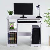 White Computer Desk with Keyboard Tray for Small Space,Modern Simple Style Gaming Workstation Writing Desk with Storage Shelves,PC Laptop Table with CPU Stand for Home Office Decor