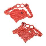 Beaded wristband bracelets, 'Hearts in Strawberry' (pair)